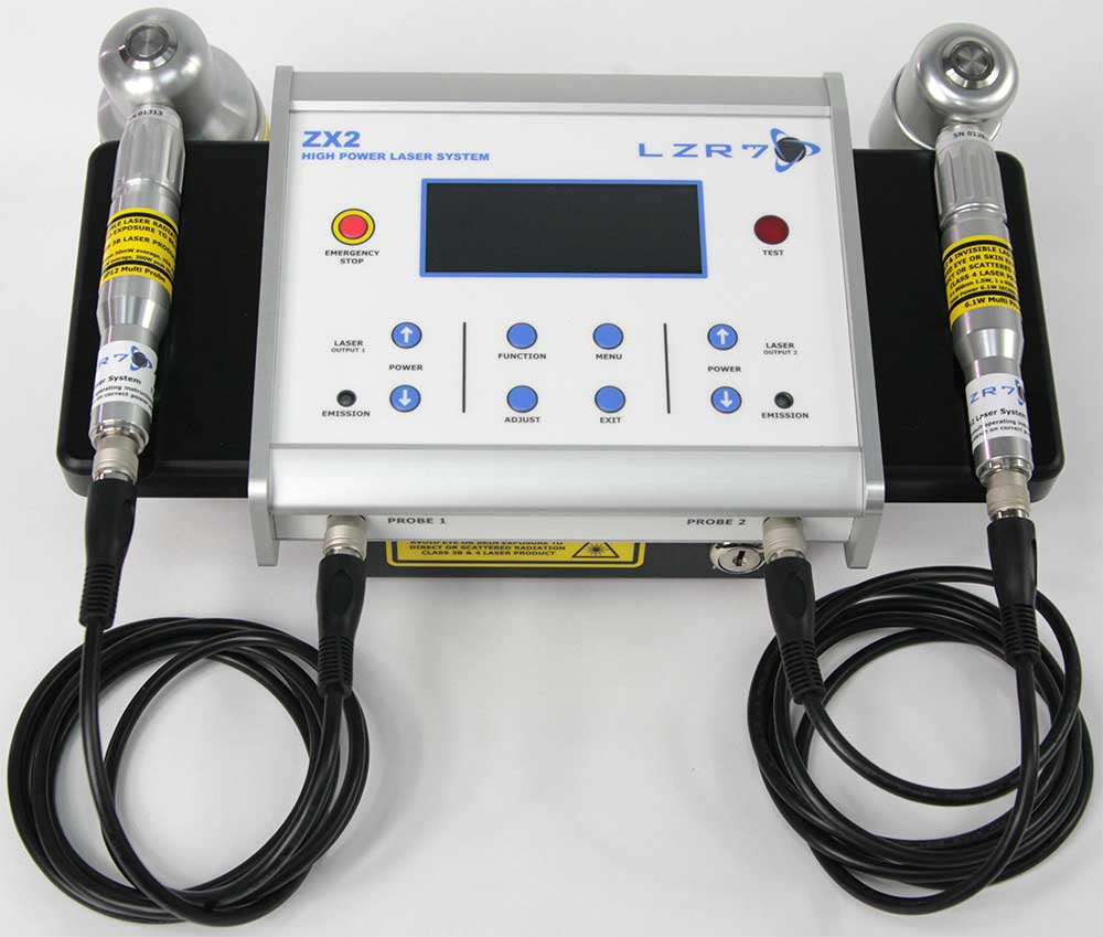 LZR7™ ZX2 high power laser controller system with two example probes: 6.1W and 300W Super Pulsed laser probes