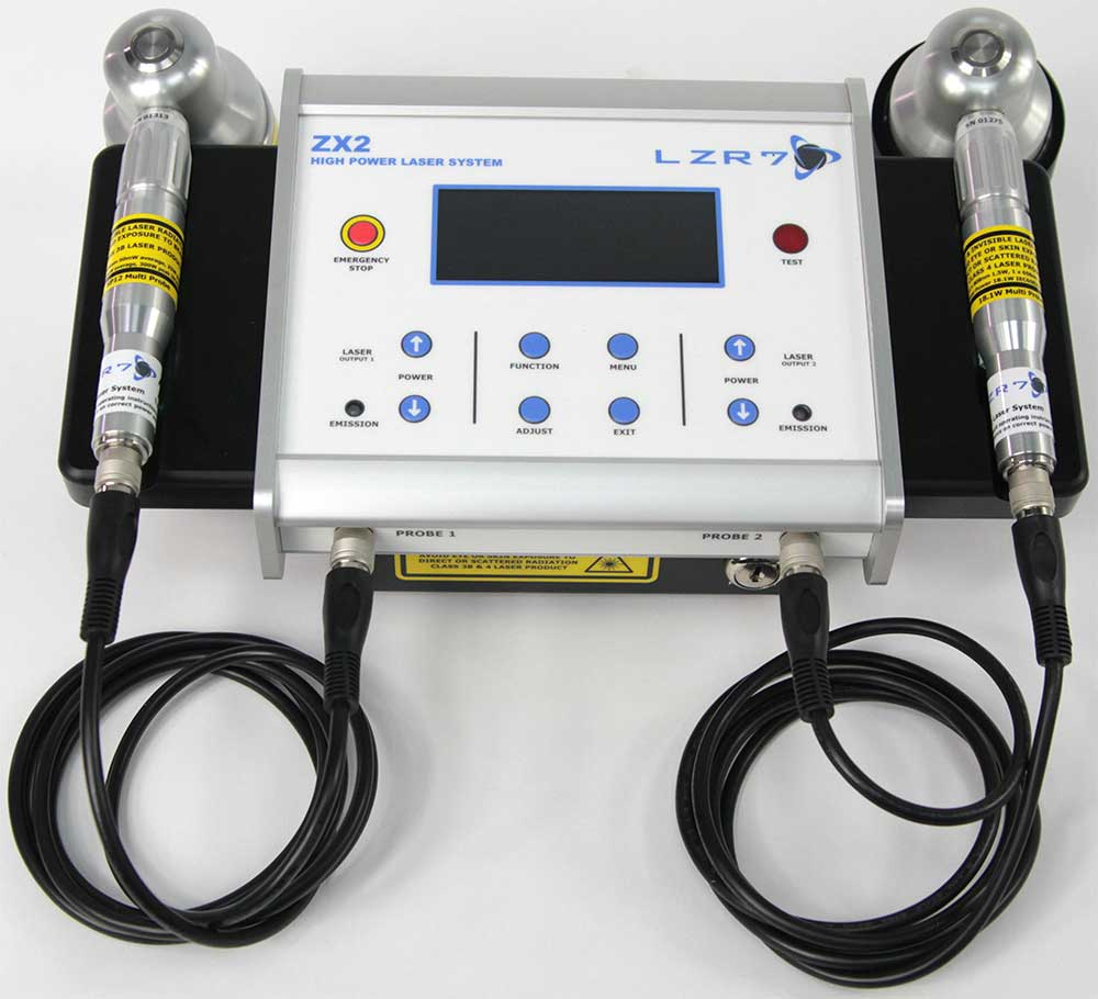 LZR7™ ZX2 high power laser controller system with two example probes: 18.1W and 300W Super Pulsed laser probes