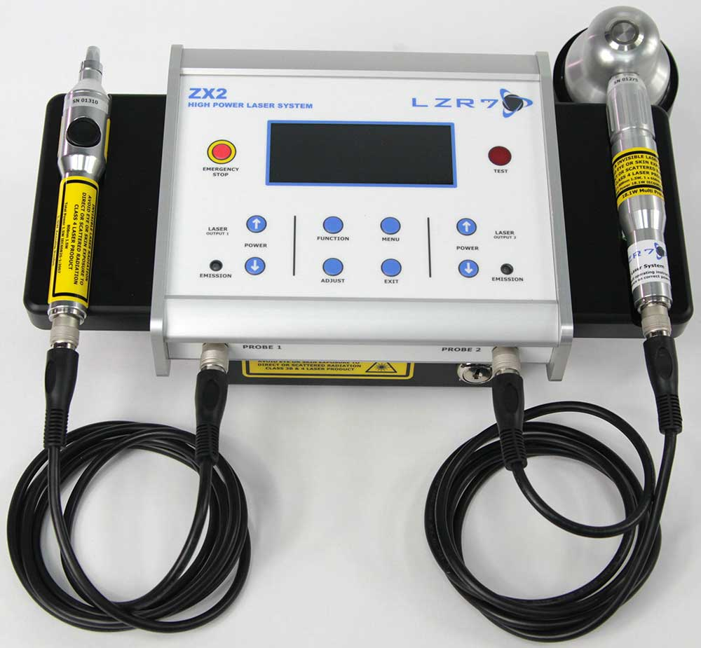LZR7™ ZX2 high power laser controller system with two example probes: 1.5W AcuTip and 300W Super Pulsed laser probes