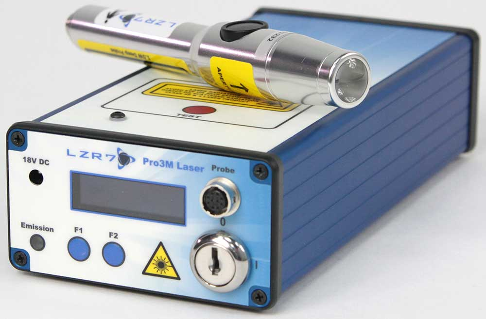LZR7™ Pro3M laser controller system with example probe (shown not wired): 1.5W deep probe