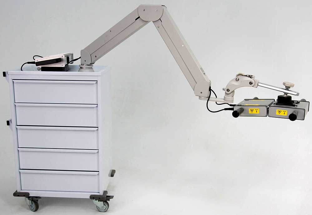 5-drawer cart with LZR7™ ZX2 high power laser controller system with smaller example probes on either side, plus 1.8 Million milliWatt Cool Class 3B Area Laser at the end of an extended adjustable arm