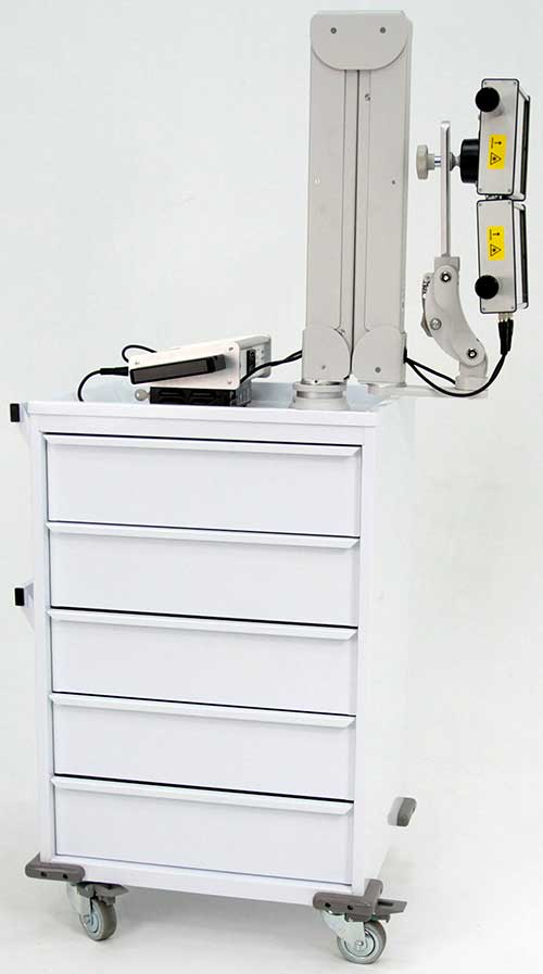 5-drawer cart with LZR7™ ZX2 high power laser controller system with smaller example probes on either side, plus 1.8 Million milliWatt Cool Class 3B Area Laser at the end of an adjustable arm (shown in collapsed position)