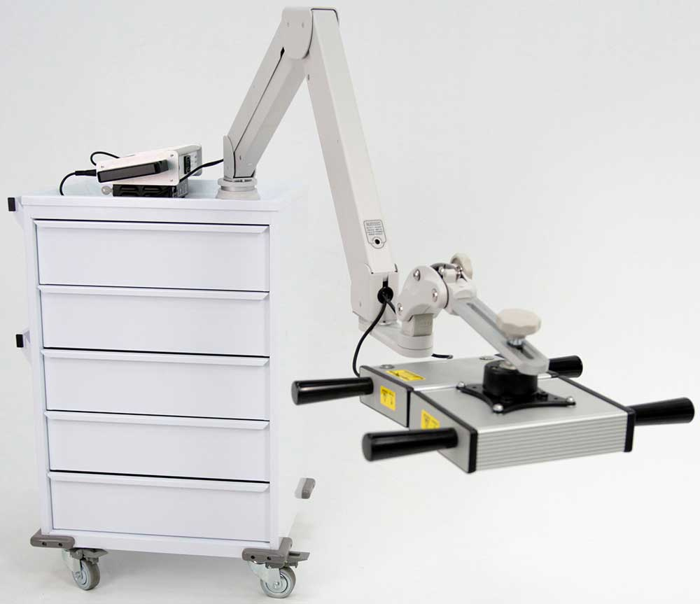 5-drawer cart with LZR7™ ZX2 high power laser controller system with smaller example probes on either side, plus 1.8 Million milliWatt Cool Class 3B Area Laser at the end of an extended adjustable arm (oblique view)